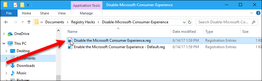 Double-click the .reg file to disable the Microsoft Consumer Experience