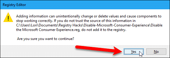 Registry Editor confirmation dialog box