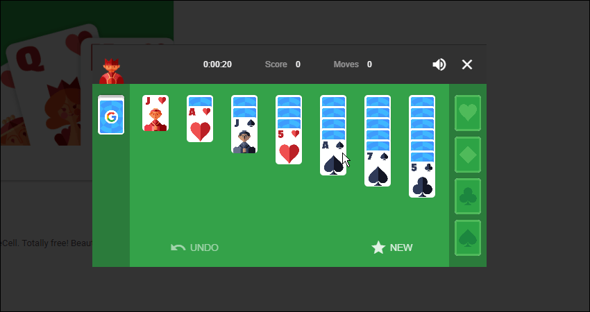 Google Solitaire game