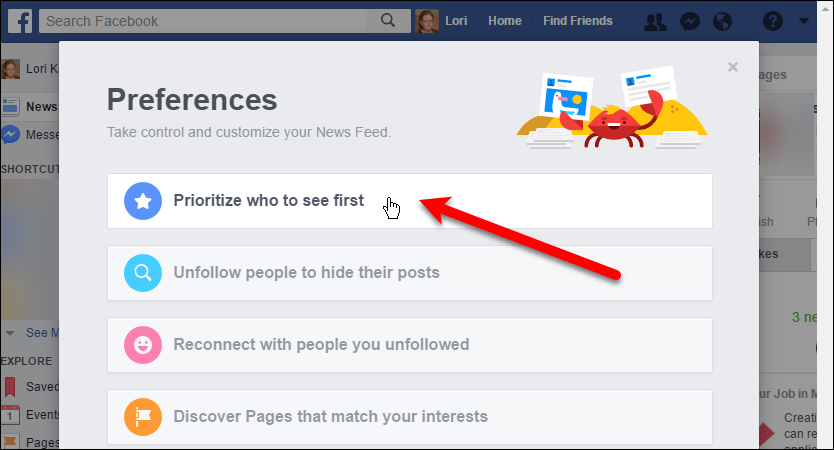 Click Prioritize who to see first in Facebook in your browser.