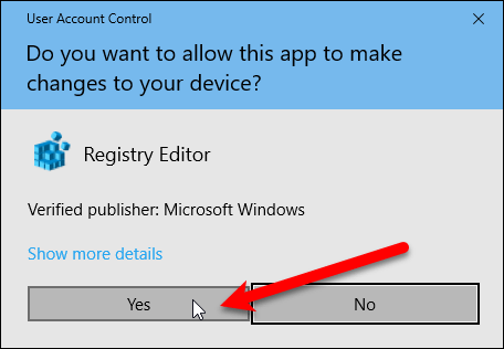 User Account Control dialog box for .reg file
