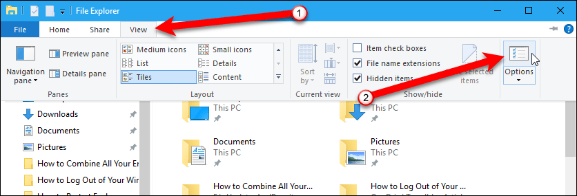 Click the Options button in File Explorer