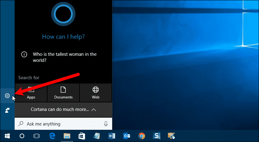 Click the Cortana Settings button
