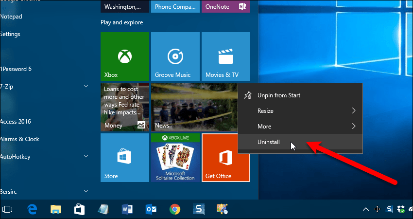 Get Office app on Start menu