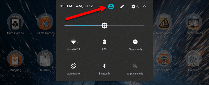 Tap the User icon on a Google Pixel C