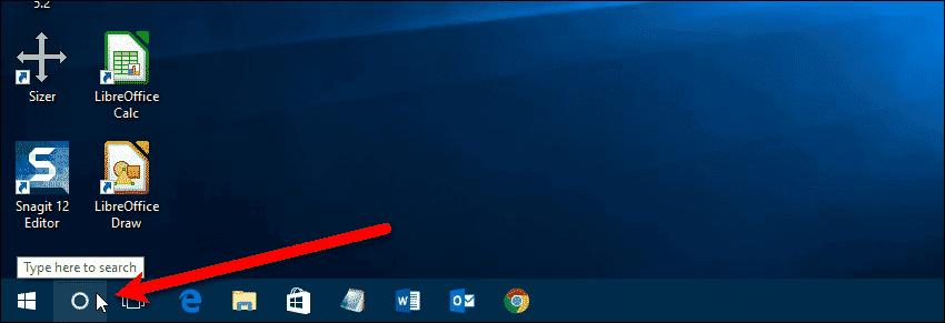 Cortana icon on Taskbar