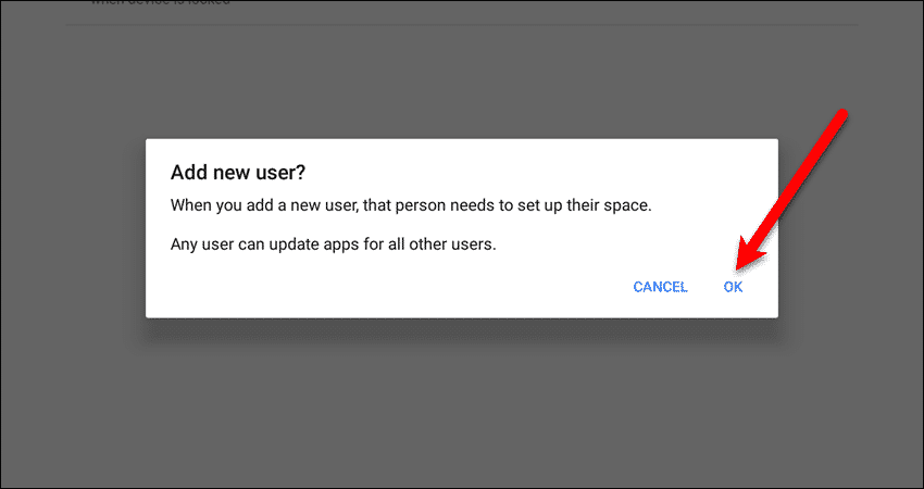 Add new user dialog box