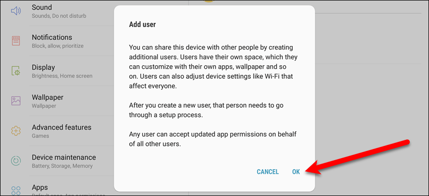 Add new user dialog box on a Samsung device
