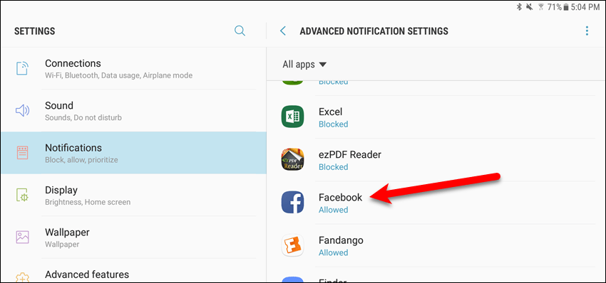 Advanced Notification Settings on a Samsung device