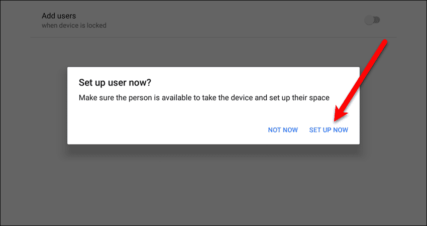 Set up user now dialog box