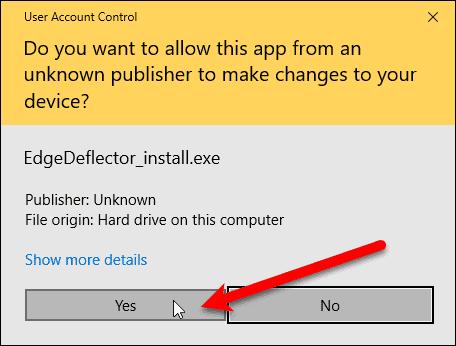User Account Control dialog box for EdgeDeflector