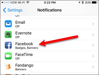 Tap Facebook in app list in Settings