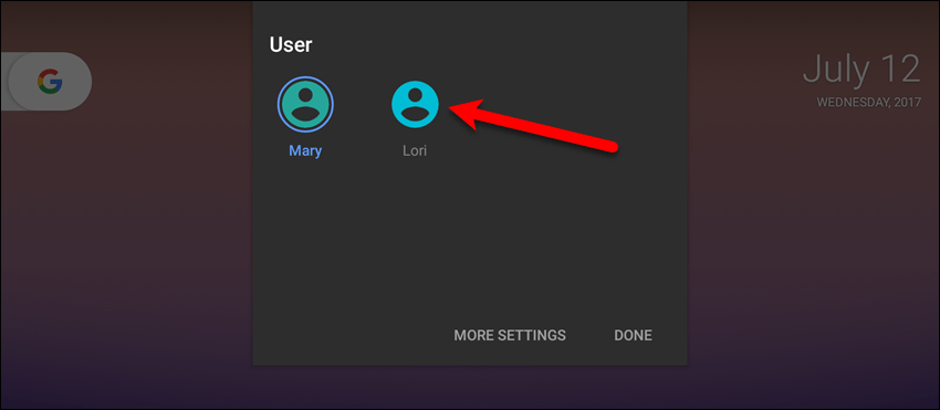 Tap your user name on the Users panel