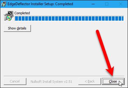 Close the EdgeDeflector installer