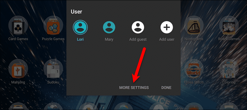 Tap More Settings on Users panel