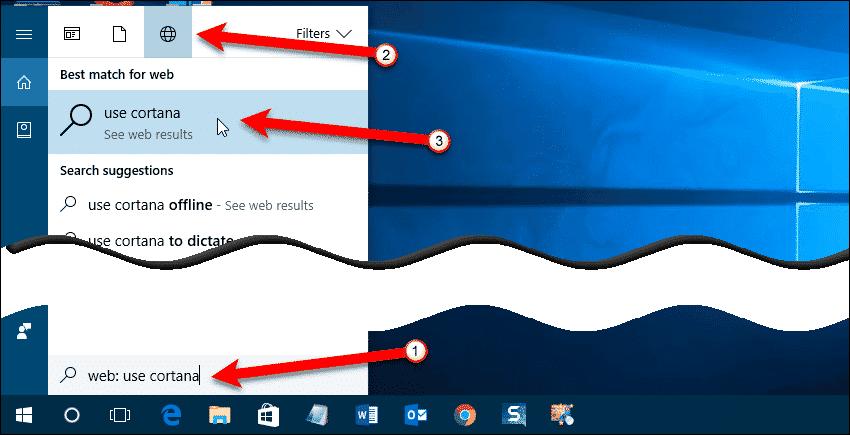 Use Cortana to search the web