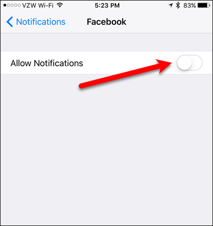 Notifications off for specific app on iOS