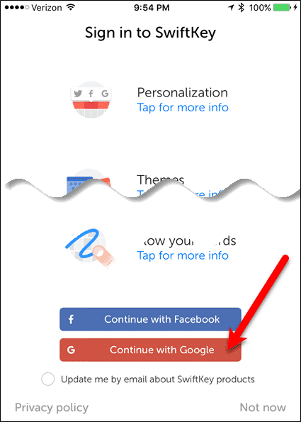 Tap Continue with Facebook or Continue with Google