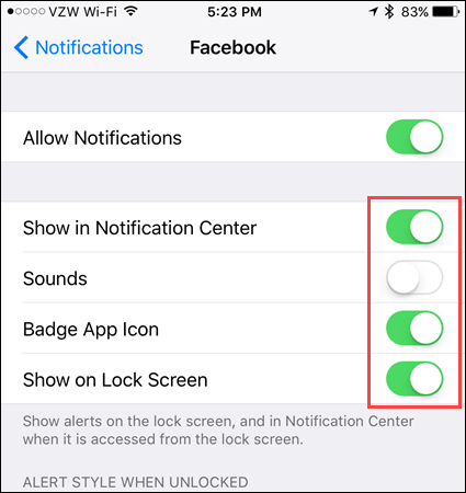 Choose notification types on iOS