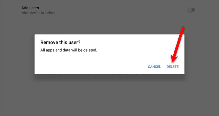 Remove this user dialog box