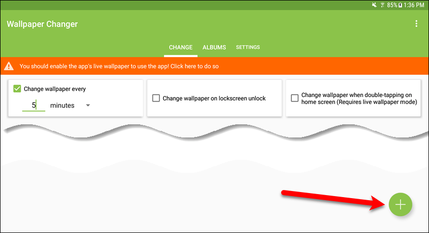 Tap plus icon on Change tab