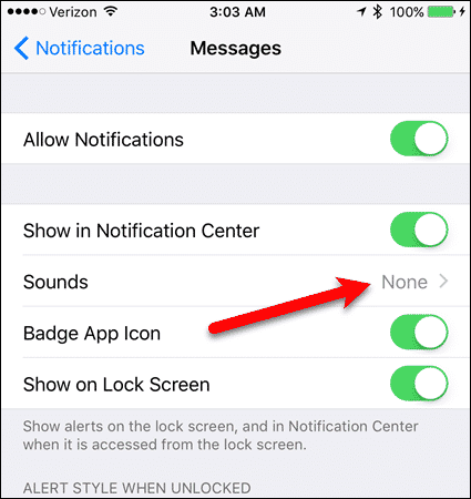 Notification Sounds for Messages