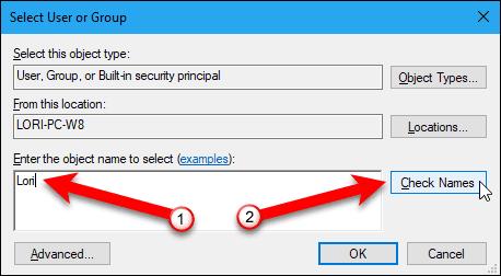 Enter user name and then click the Check Names button