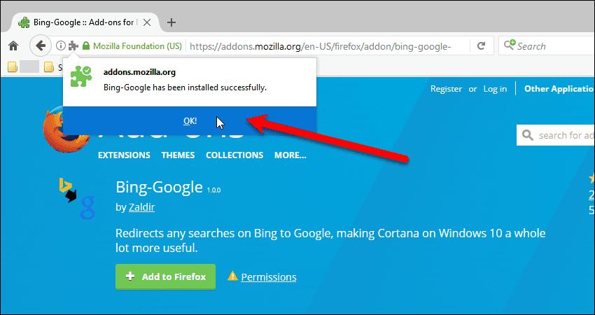 Bing-Google add-on installed correctly