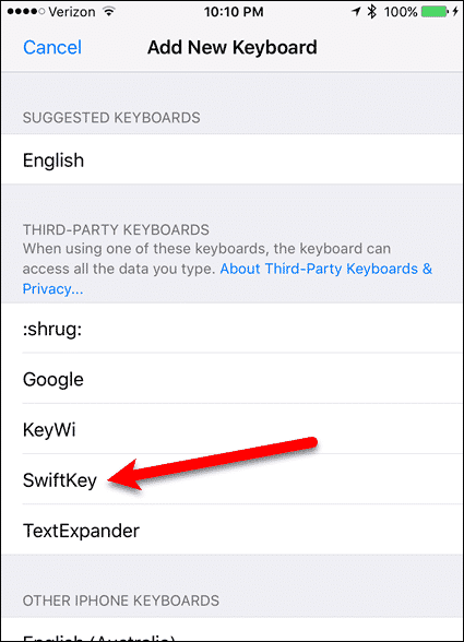 Tap SwiftKey on the Add New Keyboard Settings screen