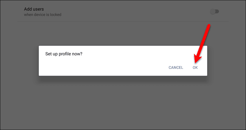 Set up profile now dialog box