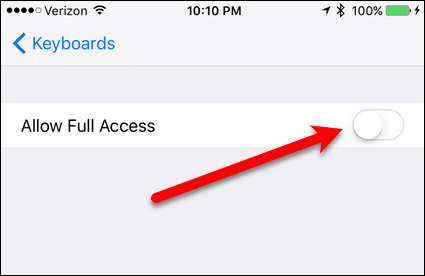 Tap Allow Full Access