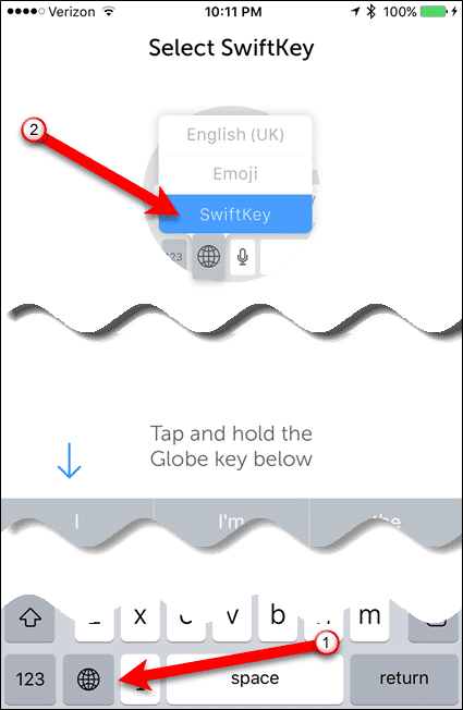 Tap and hold globe icon