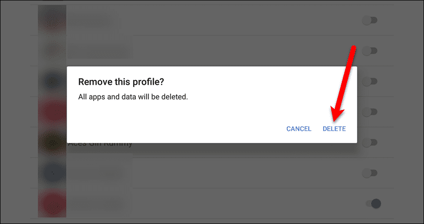 Remove this profile dialog box
