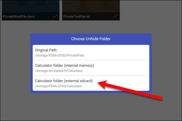 Choose Unhide Folder dialog box