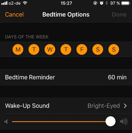 ios bedtime
