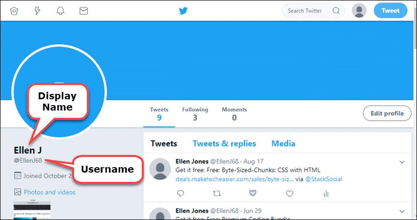 Twitter Username vs. Name