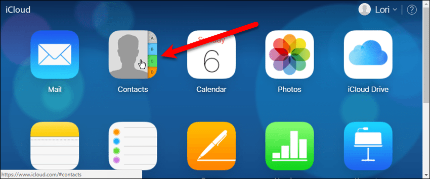 Click the Contacts app on iCloud