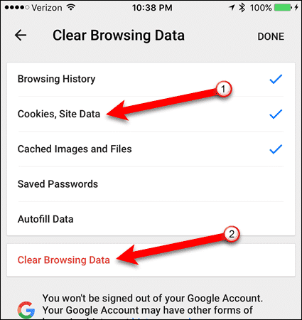 Tap Cookies, site data in Chrome for iOS