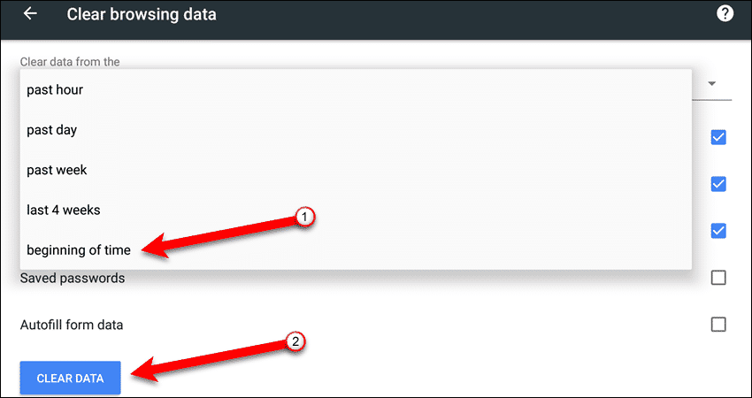 Select time frame from Clear data from the drop-down list in Chrome for Android