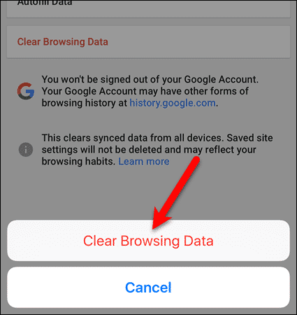 Tap Clear browsing data again in Chrome for iOS