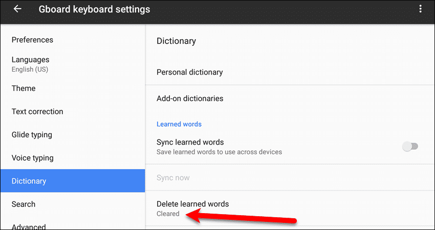 Learned words cleared on a Google device