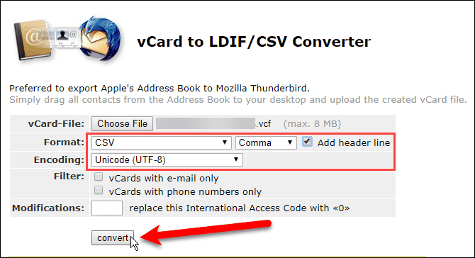 Select options for converting VCF file to CSV file