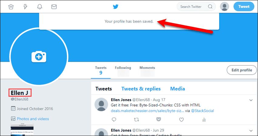 Profile saved on Twitter website