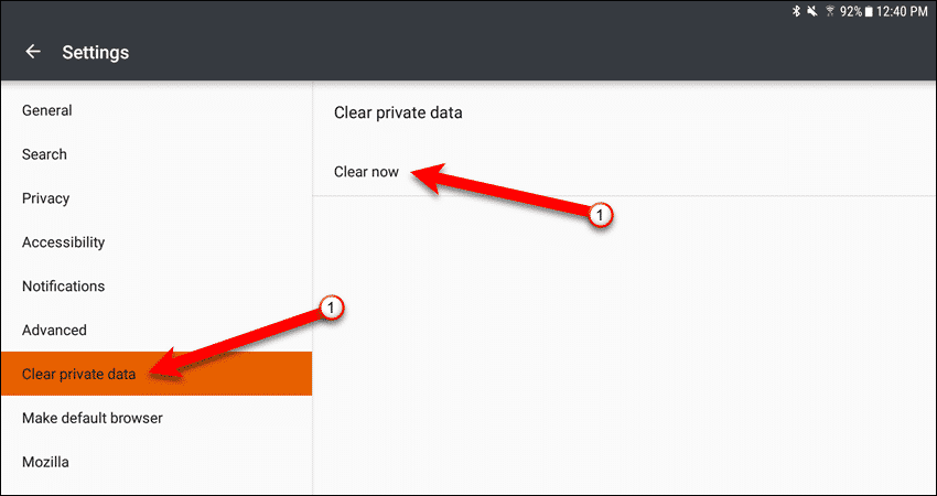 Clear private data in Firefox for Android