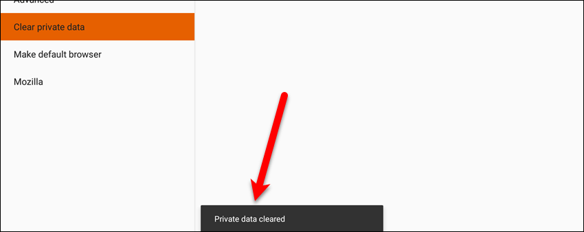 Private data cleared message in Firefox for Android