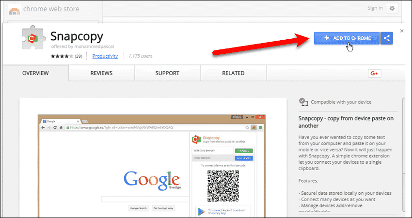 Install the Snapcopy extension in Chrome