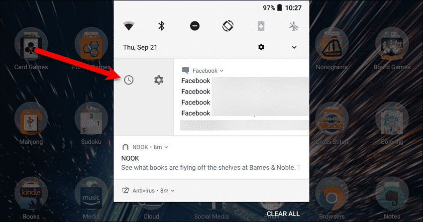 Swipe on a notification