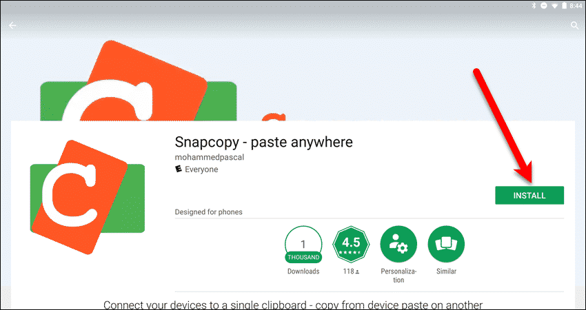 Install the Snapcopy app on your Android device