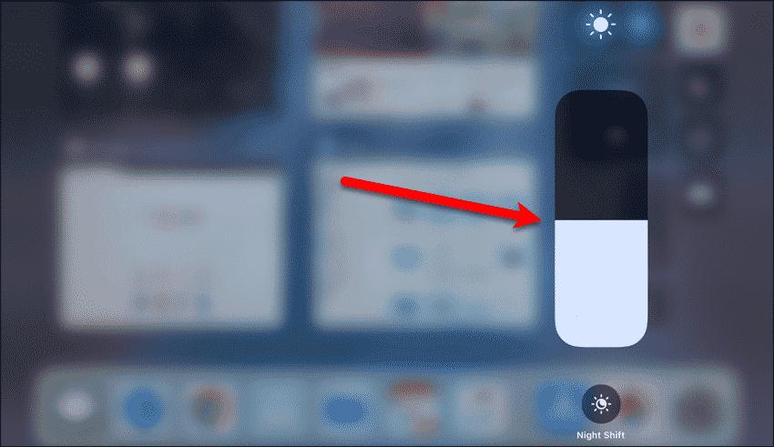 Long-press on brightness slider in iOS 11