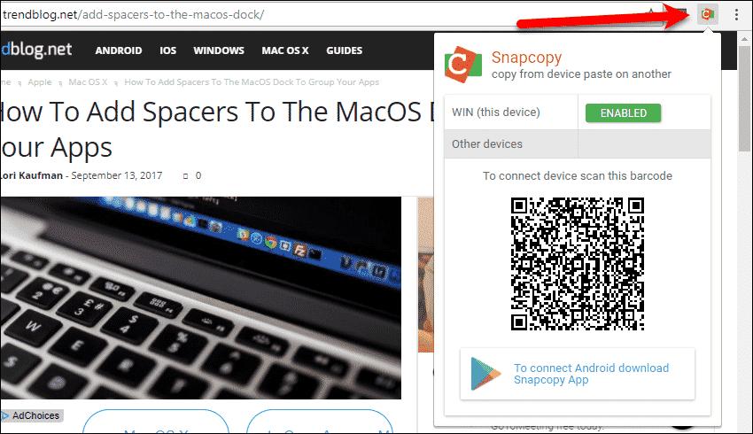 Abra la extensión Snapcopy en Chrome en su computadora